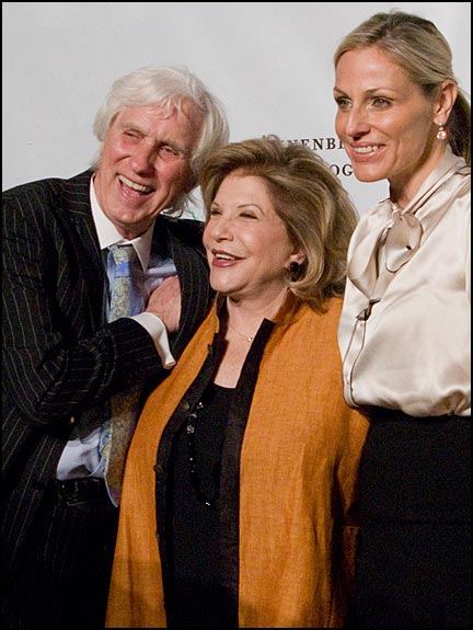 Douglas Kirkland, Wallis Annenberg and Jamie Tisch pose for pictures on the red carpet at the opening of the Annenberg Space for Photography. Courtesy © Susan Katz, 2009