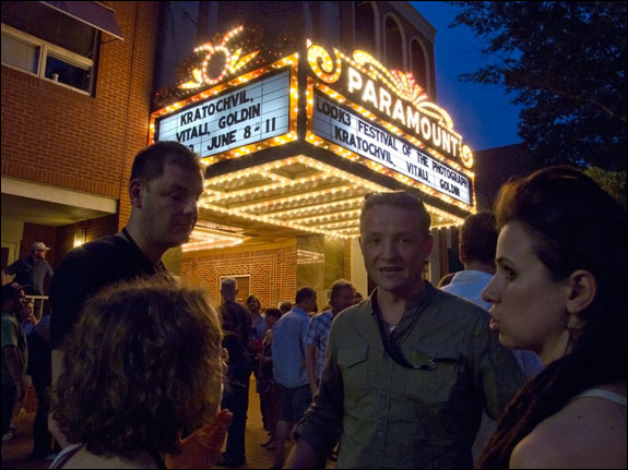 Festival-goers mingle at the historic Paramount Theater in downtown Charlottesville. Courtesy, © Susan Katz, 2011