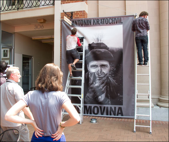 Festival planners hang large banners announcing Kratochvil's exhibition as part of his INsight Conversation. Courtesy, © Susan Katz, 2011