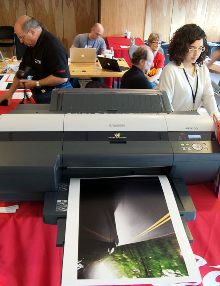As part of YourSpace exhibition, large Canon color photo printers are available to print on. Courtesy, © Susan Katz 2009