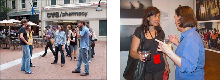 (left) Photo enthusiasts share tips, and pose for pictures while experiencing the outdoor Festival offerings. Courtesy, © Susan Katz 2009. (right) Festival-goers talk about what they've seen, and discuss photography at this years Festival. Courtesy, © Susan Katz 2011