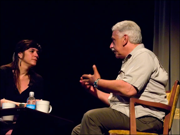 MaryAnne Golon interviewed Gilles Peress at the LOOK3 Festival. Courtesy © Susan Katz, 2009