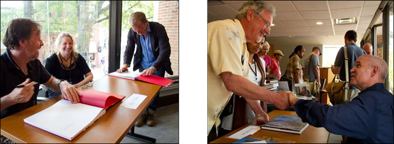 (left) Magnum photographers, Alex Webb and Chris Anderson, laugh with Rebecca Webb as they sign each others book. (right) Steve McCurry, Magnum photographer, signs his book, The Unguarded Moment, for fellow National Geographic photographer Tom Mangelsen. Courtesy, © Susan Katz 2011