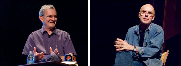 (left) Martin Parr shares his INsight Conversation with Martin Gossage. Courtesy, © Susan Katz, 2009, (right) Eugene Richards shares his INsight Conversation with the audience, explaining what it takes to create a powerful portrait. Courtesy, © Susan Katz, 2009