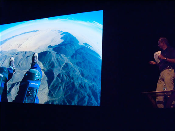 George Steinmetz tells the audience about this image, one he took from his paragliding apparatus. Courtesy, © Susan Katz 2009