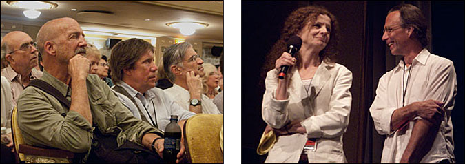 (left) James Nachtwey and David Alan Harvey view presentations in the historic Paramount Theater in downtown Charlottesville. Courtesy, © Susan Katz, 2009, (right) Guest curators have included Kathy Ryan of New York Times Magazine and Scott Thode of VII Magazine. Courtesy, © Susan Katz, 2011