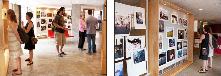 (left) As part of YourSpace, Festival attendees are given the opportunity to print and display their work at the Festival. Courtesy, © Susan Katz 2009, (right) Festival-goers look at photographs from a broad spectrum of subjects. Courtesy, © Susan Katz 2009