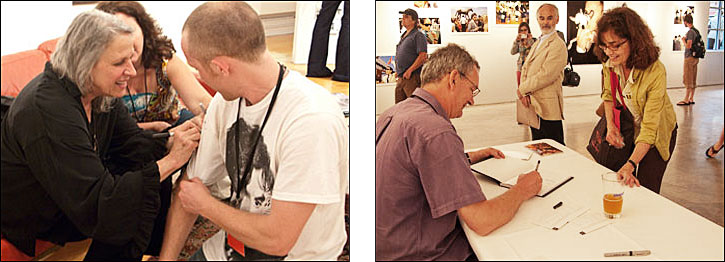 (left) Sylvia Plachy gets creative, and signs a guest's T-shirt at her book signing. Courtesy, © Susan Katz 2009, (right) Martin Parr signs his book for a Festival guest at his book signing as John Gossage looks on. Courtesy, © Susan Katz 2009