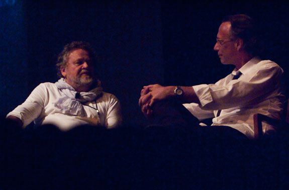 Antonin Kratochvil sits with Scott Thode to discuss his work, and share stories with the audience. Courtesy, © Susan Katz, 2011