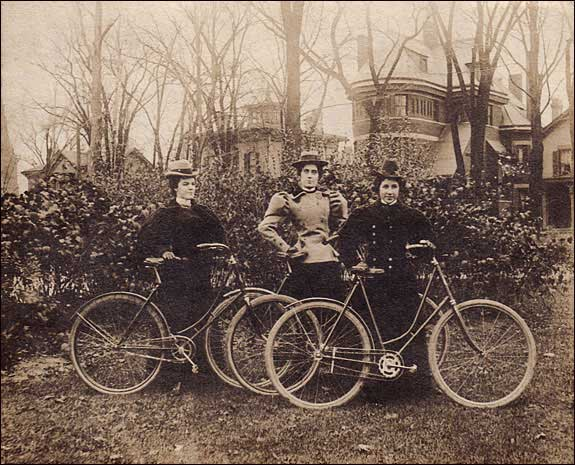 Photographer unknown, Three proud ladies show off their bicycles, date unknown. Collection of Lorne Shields.