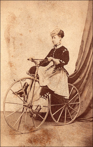 Black (first name unknown), A trick-riding lady on her Velocipede, Circa 1869. Carte de Visite, Collection of Lorne Shields.