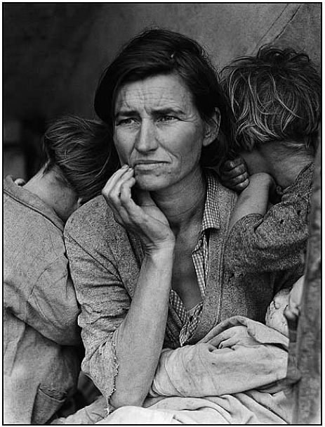 Destitute pea-pickers in California; a 32-year-old mother of seven. Library of Congress Prints and Photographs Division, 1936