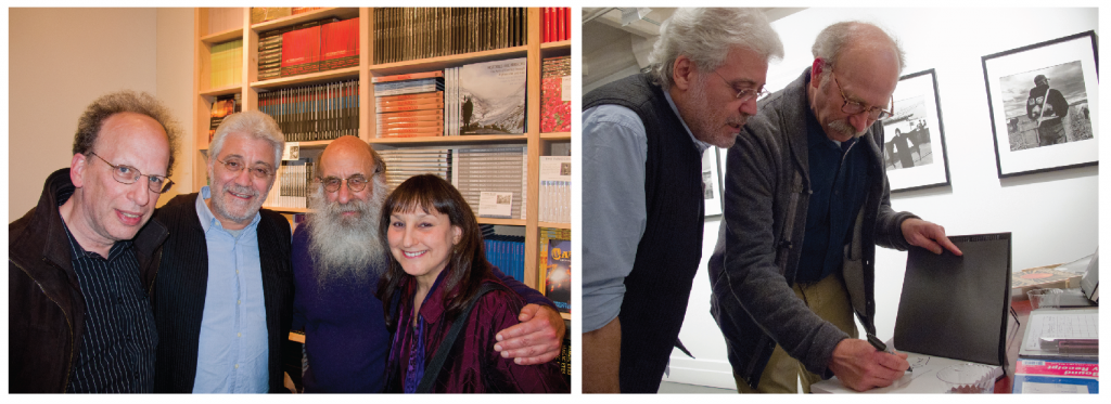 Left: Attending Ken and Melanie Light's New York exhibit and reception at Umbrage Books, Fred Richin (NYU & Pixel Press), Robert Pledge (Contact Press Images), Malcolm Margolin (Heyday Publishing), and Suzie Katz (PhotoWings) pose for a photo. Right: Ken Light signs a book for Robert Pledge, founder of Contact Press Images, at Ken's opening at Umbrage Books. Courtesy, ©Suzie Katz 2012