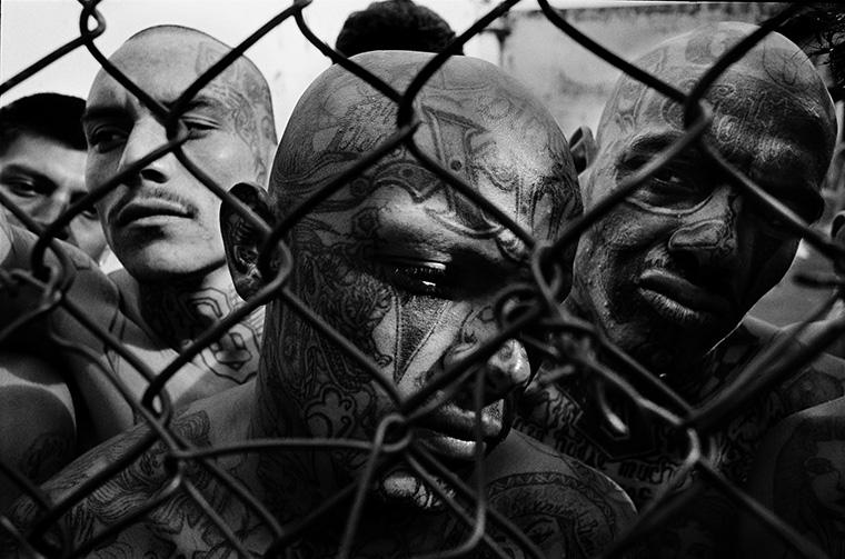 Members of the Mara 18, El Hoyon prison. Image courtesy Victor J. Blue
