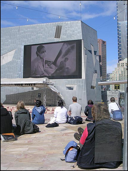 TED Prize - James Nachtwey/XDR-TB rollout: Federation Square in Melbourne, Australia, courtesy © Flickr user XDRTB.org, 2008