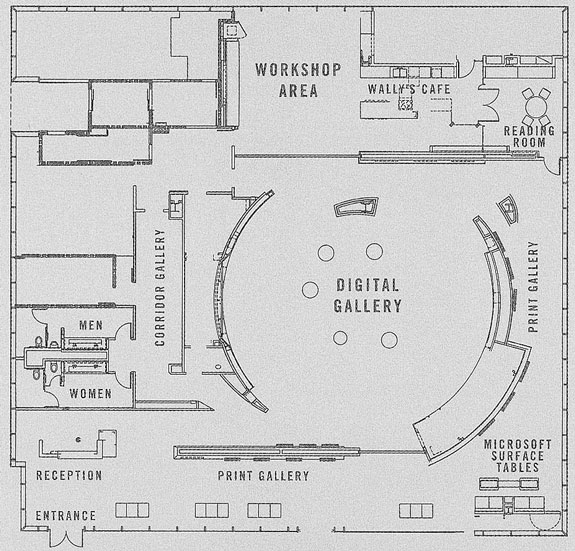 The Space's floor plan illustrates the curvilinear Digital Gallery walls that emulate the aperture of a camera. Courtesy © The Annenberg Space for Photography