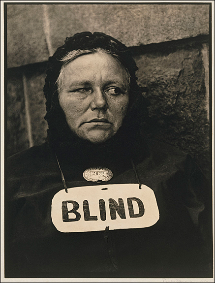 Paul Strand (American, 1890–1976) Blind, 1916 Platinum print, 34 x 25.7 cm (13 3/8 x 10 1/8 in.) The Metropolitan Museum of Art, Alfred Stieglitz Collection, 1933 (33.43.334) Image © The Metropolitan Museum of Art, New York